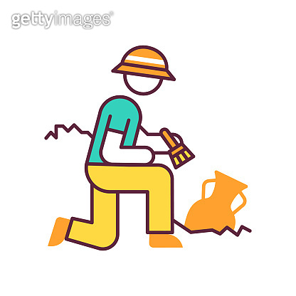 Excavation color icon. Archeologist. Researcher. Ancient culture research. Artifact in ground. Greek amphora. Scientist. Man search old treasures. Historian discover vase. Isolated vector illustration