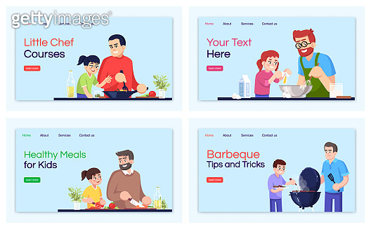 Cooking courses landing page vector templates set. Culinary lessons website interface idea with flat illustrations. Meal recipes homepage layout. Master classes cartoon web banner, webpages kit