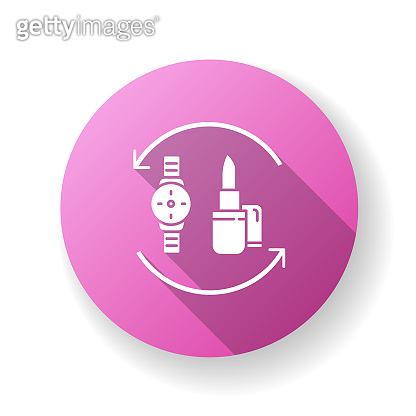 Barter pink flat design long shadow glyph icon. Swap products. Circular marketing strategy. Economic deal with goods. Exchange beauty and fashion items. Silhouette RGB color illustration