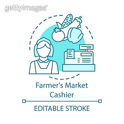 Farmers market cashier concept icon. Farming, shopping in grocery idea thin line illustration. Woman near counter selling vegetables. Seller, marketer. Vector isolated outline drawing. Editable stroke