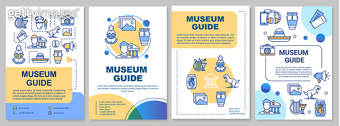 Museum guide brochure template. Exhibition guidebook. Flyer, booklet, leaflet print, cover design with linear icons. Vector page layouts for magazines, annual reports, advertising posters