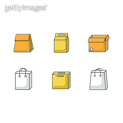 Paper food packages yellow RGB color icons set. Cardboard boxes, carton bags for products, meal. Disposable containers for lunch, grocery. Isolated vector illustrations