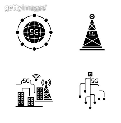 5G wireless technology black glyph icons set on white space. Smart city. Microchip. Cell tower. World standard. Fast speed. Mobile cellular network. Silhouette symbols. Vector isolated illustration