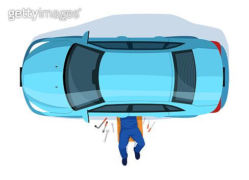Car repair semi flat RGB color vector illustration