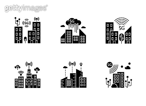 5G smart city black glyph icons set on white space. Urban intelligence. Mobile cellular network coverage. Wireless technology. Silhouette symbols. Vector isolated illustration
