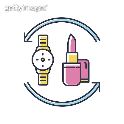 Barter RGB color icon. Swap products. Marketing strategy. Economic deal with goods. Exchange beauty and fashion items. Commerce circulation. Market anad consumption. Isolated vector illustration