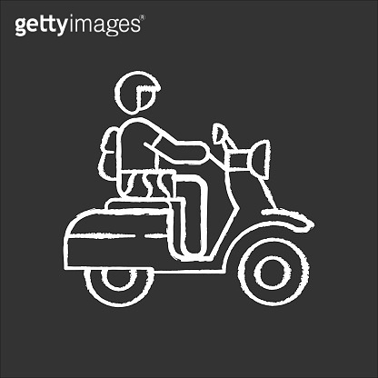 Motorbike chalk icon. Scooter driver in Bali. Crossing Indonesia by motorcycle. Scooter tropical island road trip. Transportation type in Indonesia. Isolated vector chalkboard illustration