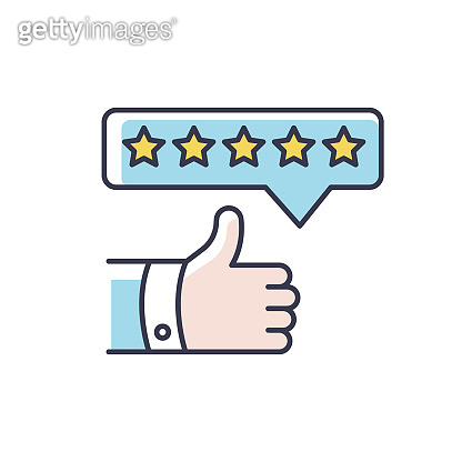 Product review RGB color icon. Thumbs up. Five star film. Excellent quality. Customer satisfaction rate. Positive assessment and evaluation. Blog feedback. Isolated vector illustration
