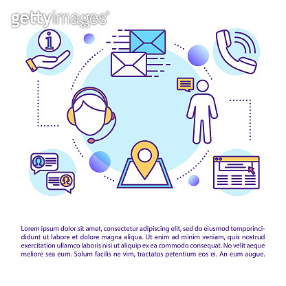 Client support concept icon with text. Hotline service. Information center. Telemarketing, helpdesk. PPT page vector template. Brochure, magazine, booklet design element with linear illustrations