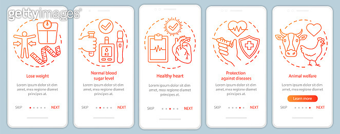 Vegan advantages onboarding mobile app page screen vector template. Vegetarian lifestyle benefits walkthrough website steps with linear illustrations. UX, UI, GUI smartphone interface concept