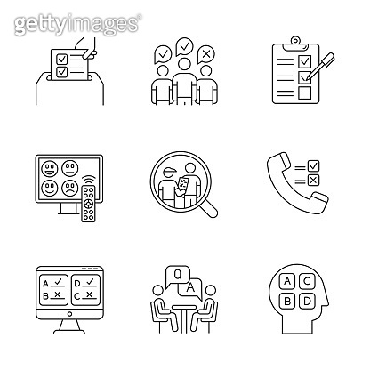 Survey methods linear icons set. Telephone, online poll. Rating. Interview. Public opinion. Customer satisfaction. Thin line contour symbols. Isolated vector outline illustrations. Editable stroke