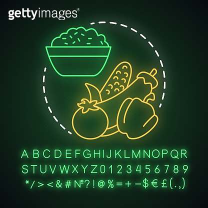 Vegan lunch neon light concept icon. Healthy nutrition, vegetarian lifestyle idea. Glowing sign with alphabet, numbers and symbols. Porridge with raw vegetables vector isolated illustration