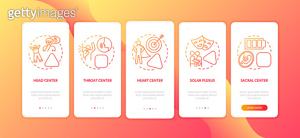 Different energy centers onboarding mobile app page screen with concepts