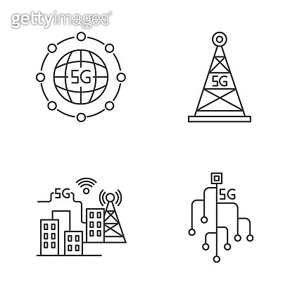 5G wireless technology pixel perfect linear icons set. Smart city. Microchip. Cell tower. Fast speed. Customizable thin line contour symbols. Isolated vector outline illustrations. Editable stroke