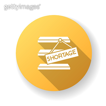 Stock shortage yellow flat design long shadow glyph icon. Merchandise lack, goods limited quantity, empty storehouse. Commerce, retail, consumerism. Silhouette RGB color illustration