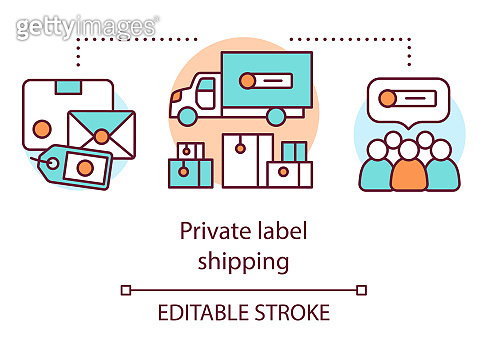 Private label shipping concept icon. Product branding idea thin line illustration. Shipping merchandise with return address. Goods transportation. Vector isolated outline drawing. Editable stroke