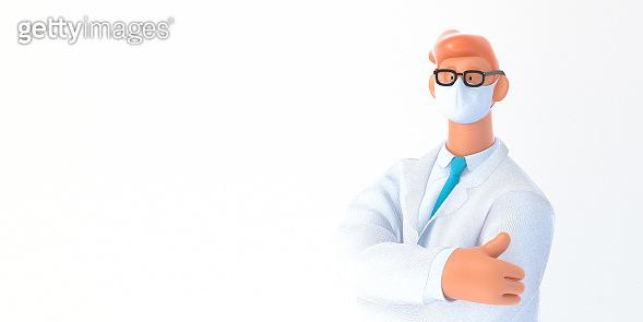 3D cartoon character medical doctor