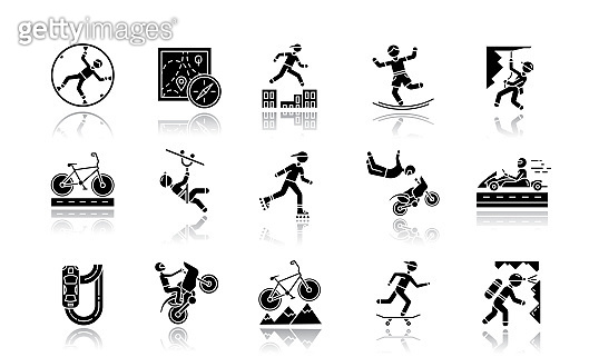 Extreme sports drop shadow black glyph icons set. Climbing, mountaineering. Spelunking. Cycling, rollerskating. Motorcar racing. Street culture. Orienteering skill. Isolated vector illustrations