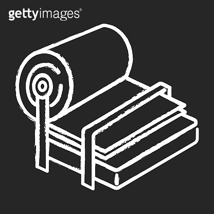 Pulp and paper industry chalk icon. Canvas production. Blank sheet on press. Professional conveyor, facility machinery. Papermaking. Technical maintenance. Isolated vector chalkboard illustration