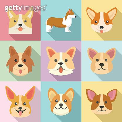 Corgi dogs icons set, flat style