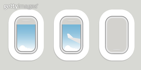 Airplane porthole. Open and closed airplane window. Vector, cartoon illustration. Vector.