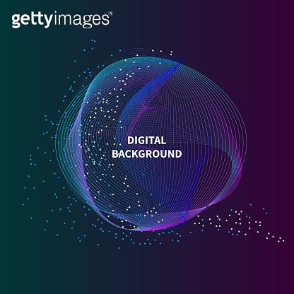 Bigdata futura circle. Line violet big data background