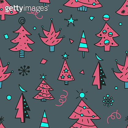 Christmas tree doodles seamless pattern