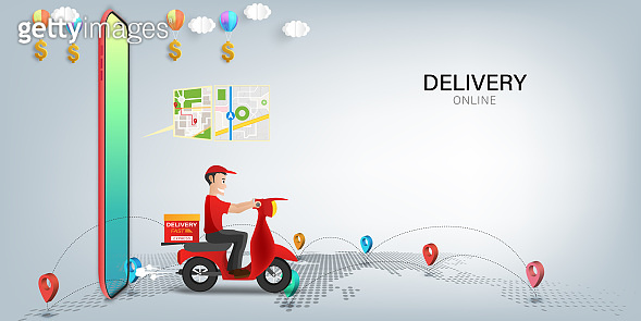 Fast delivery by scooter on mobile. E-commerce online concept. Online food order infographic. Webpage, app design. vector illustration.