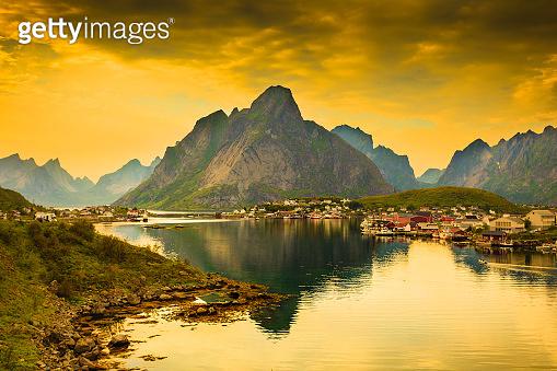 Fjord and mountains landscape. Lofoten islands Norway