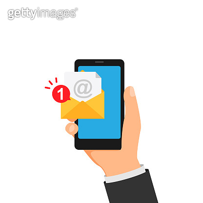 New message notification on smartphone in hand. Vector illustration EPS 10