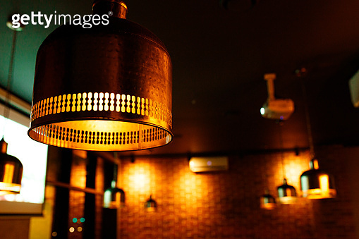 Decoration in the Indian style. Lamps in an Indian restaurant