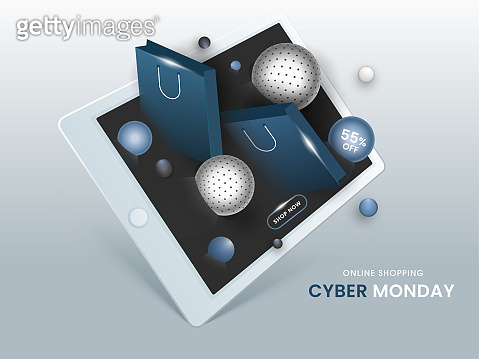 3D Illustration of Smartphone with Spheres, Shopping Bags and 55% Discount Offer for Cyber Monday Sale. Can be used as poster design.