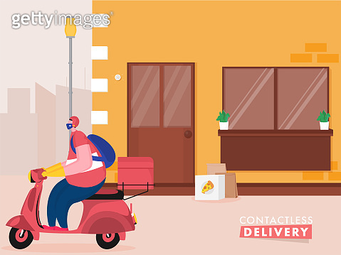 Pizza Courier Man Riding Scooter with Putting Parcel at Door for Contactless Delivery During Coronavirus.