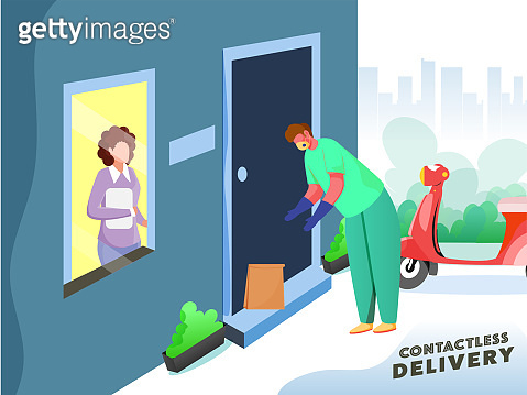 Contactless Delivery Concept Based Poster Design, Delivery Boy Parcel Putting At Door With Customer Woman And Scooter On White And Teal Blue Background.