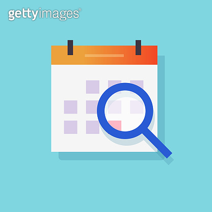 Calendar event search icon or scheduled day find symbol vector flat cartoon, illustrated paper agenda with magnifying glass exploring organizer sign modern symbol isolated clipart image
