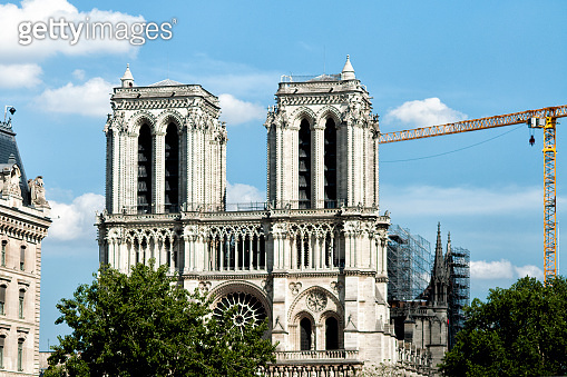 Paris : Notre Dame Cathedral works, after the fire.
