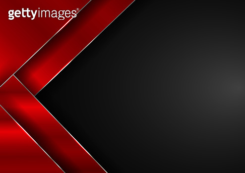Abstract elegant red geometric overlap layers with stripe silver line and lighting on black background.