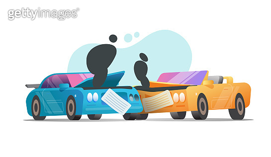 Car crash collision vector or two vehicles accident scene with with broken automobiles flat cartoon style, illustration or broken auto modern design isolated on white background image