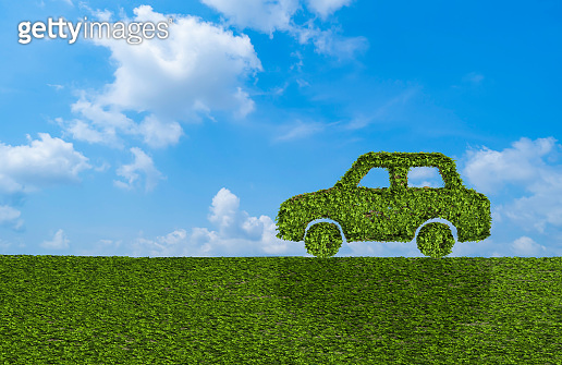 Ivy plant with leaves, green creeper bush and vines forming eco electric energy car sign symbol with grass and blue sky in nature, growth and eco environment concept. 3d tree illustration.
