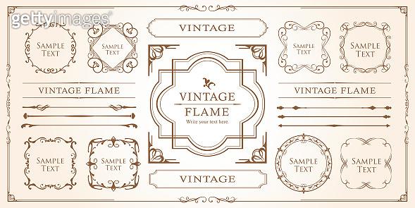 Beautiful decoration set, antique frame, vintage design material