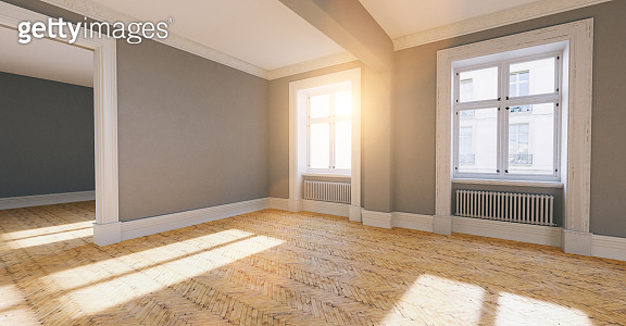 Bright empty room in old apartment as a passage room in berlin