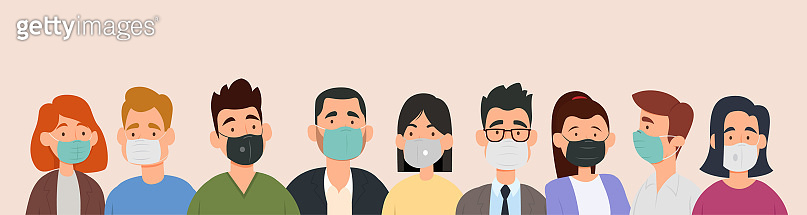 Group of people wearing medical masks to prevent disease, flu, air pollution, contaminated air, world pollution.
