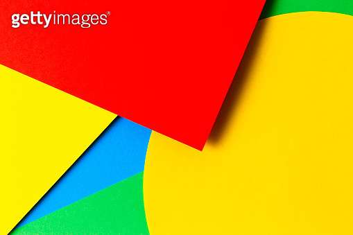 Abstract colored paper texture background. Minimal geometric shapes and lines in yellow, light blue, red, green colors