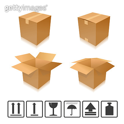 Brown closed and open carton delivery packaging box set with icons. Vector illustration. Eps 10 vector file.