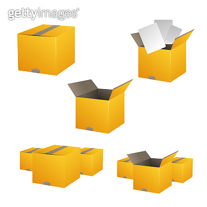 Yellow closed and open carton delivery packaging box set. Vector illustration. Eps 10 vector file.