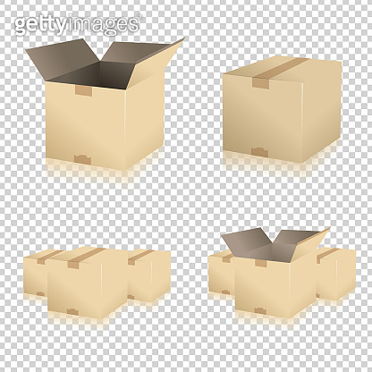 Brown closed and open carton delivery packaging box set on checked transparent background. Vector illustration. Eps 10 vector file.
