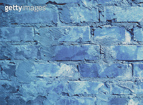 Abstract blue grunge brick wall background
