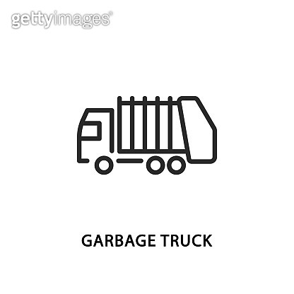 Garbage truck flat line icon. Vector illustration lorry. Recycling and sorting of waste