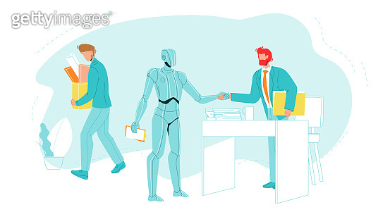 Dismissed Worker Leave Office With Supplies Vector