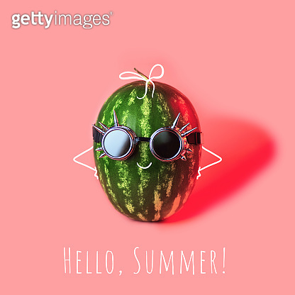 a watermelon punk in rocker glasses on pink background